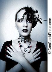 retrato, mulher, moda, vampiro, jovem