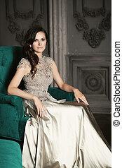 retrato, mulher, modelo moda, beleza