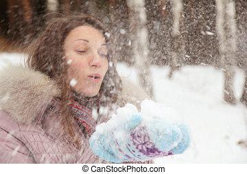 retrato, mulher, morena, inverno, jovem