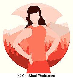 retrato, mulher, natural, paisagem