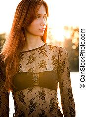 retrato, mulher, pôr do sol