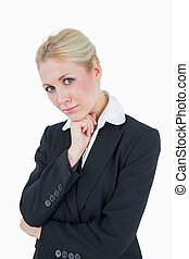retrato, mulher, queixo, negócio, mão
