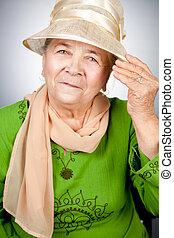 retrato, mulher sênior, antigas, feliz