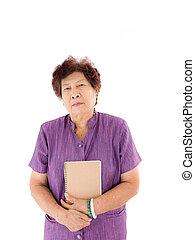 retrato, mulher sênior, segurando um livro, ligado, white.