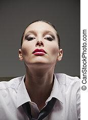 retrato, mulher, sensual