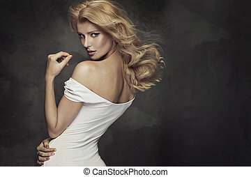 retrato, mulher, sensual, loura