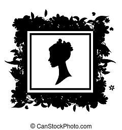 retrato mulher, silueta, floral, quadro
