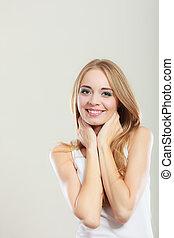 retrato, mulher sorri, bonito