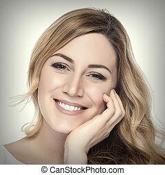 retrato, mulher sorridente, blond.