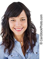 retrato, mulher sorridente, jovem