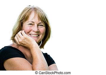retrato, mulher sorridente, maduras