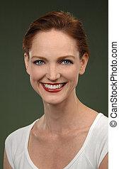 retrato, mulher sorridente, ruivas
