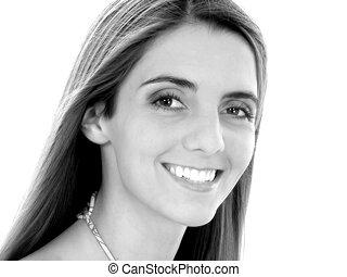 retrato, mulher, sorrizo