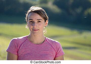 retrato, mulher, sporty, jovem