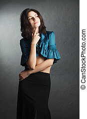 retrato, mulher, vestido