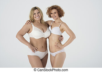 retrato mulheres, roupa interior, dois