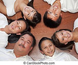 retrato, multicultural, família