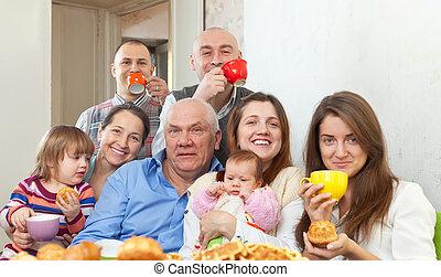 retrato, multigeneration, familia , feliz