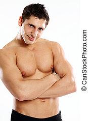 retrato, muscleman