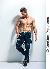 retrato, muscular, cheio, homem, comprimento, shirtless,...