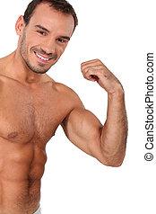 retrato, muscular, homem