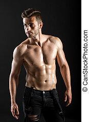 retrato, muscular, homem, fundo, escuro, shirtless, excitado