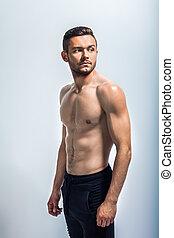 retrato, muscular, homem, shirtless, excitado