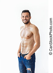 retrato, muscular, homem, sorrindo, shirtless