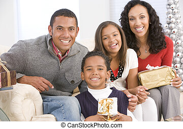 retrato, natal, família