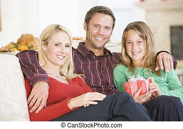 retrato, navidad, familia
