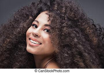 retrato, niña, afro., belleza