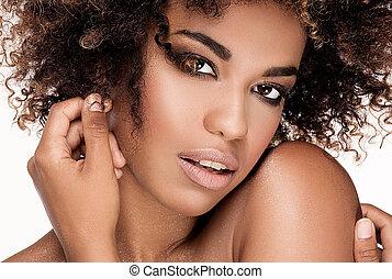 retrato, niña, afro., primer plano, belleza