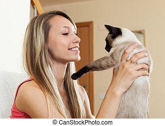 retrato, niña, con, gato