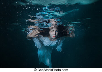 retrato, niña, debajo, water.