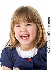retrato, niña, estudio, joven, reír