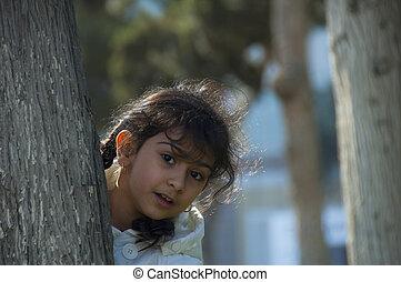 retrato, niña, parque
