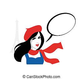retrato, niña, vector, francés