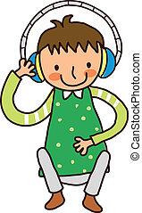 retrato, niño, auricular