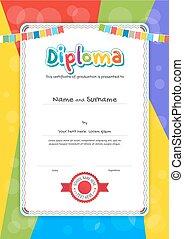 retrato, niños, diploma, o, certificado, plantilla, con, colorido, plano de fondo