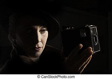 retrato, noir, película, estilo