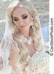 retrato, noiva, deslumbrante, closeup, casório