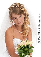 retrato, noiva, jovem, bonito