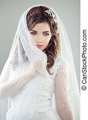 retrato, noiva, mulher, jovem, casório