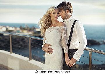 retrato, par, casamento, romanticos, jovem