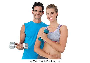 retrato, par, dumbbells, exercitar, ajustar