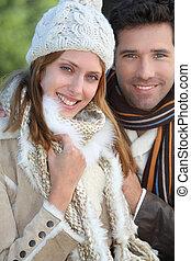 retrato, par, inverno, atraente