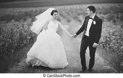 retrato, par, jovem, casório