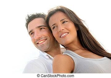 retrato, par, jovem, feliz