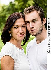 retrato, par, jovem