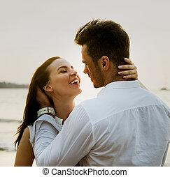 retrato, par, jovem, romanticos, atraente